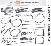 vector pencil design elements   ... | Shutterstock .eps vector #158233457