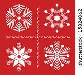 Four Nordic style snowflakes with pine branch influence on red background. All are compound path for easy color change.