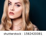 blonde with long hair looking... | Shutterstock . vector #1582420381