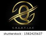 q golden letter logo design...   Shutterstock .eps vector #1582425637