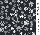 Grey Paw Print Icon Isolated...