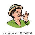portrait of happy woman in hat. ... | Shutterstock .eps vector #1582640131