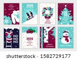 Set Of Colorful Christmas Card...