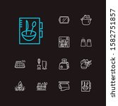 kitchenware icons set. salt...