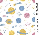 space hand drawn seamless... | Shutterstock .eps vector #1582766707