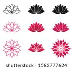 collection of blooming lotus... | Shutterstock .eps vector #1582777624