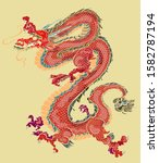 hand drawn red dragon vector... | Shutterstock .eps vector #1582787194