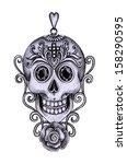 skull pendant day of the dead....   Shutterstock . vector #158290595