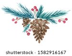 Pine Cone With Cedar Twig And...