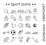 set of sport icons in doodle... | Shutterstock .eps vector #1582923457