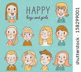 Happy Boys And Girls In Vector...