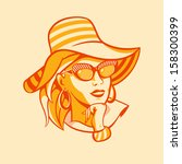 Vintage beach fashionable woman in halftone pattern - stock vector