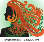 silhouette of the beautiful... | Shutterstock . vector #158300495