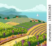 rural landscape with vineyard... | Shutterstock .eps vector #158301365