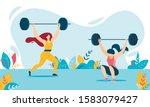 cartoon weight lifter woman... | Shutterstock .eps vector #1583079427