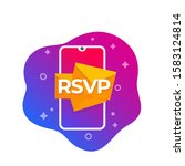 rsvp icon with smart phone ... | Shutterstock .eps vector #1583124814