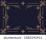 art deco frame with snowflakes. ... | Shutterstock .eps vector #1583192911