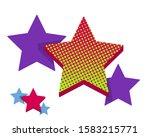 set of trendy retro star shapes.... | Shutterstock .eps vector #1583215771