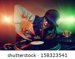 hiphop dj woman playing at... | Shutterstock . vector #158323541