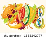 funny fast food colorful music... | Shutterstock .eps vector #1583242777
