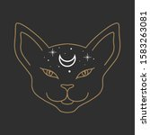 cat face with moon on his... | Shutterstock .eps vector #1583263081