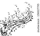 black music notes isolated on a ... | Shutterstock . vector #158327795