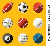 flat icon set. sport ball | Shutterstock .eps vector #158330705