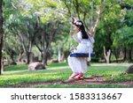 portrait of little asian girl... | Shutterstock . vector #1583313667