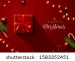 red christmas background with... | Shutterstock .eps vector #1583352451