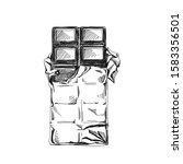 half opened chocolate bar hand... | Shutterstock .eps vector #1583356501
