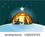 christmas nativity scene with... | Shutterstock .eps vector #158343191
