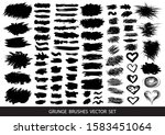 set of black paint  ink brush... | Shutterstock .eps vector #1583451064