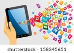 human hand holds electronic... | Shutterstock . vector #158345651