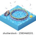 vector isometric feeding fishes ... | Shutterstock .eps vector #1583468101