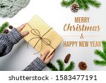christmas winter composition.... | Shutterstock . vector #1583477191