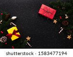 christmas gift box and pine... | Shutterstock . vector #1583477194