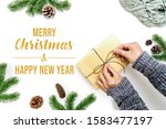 christmas winter composition.... | Shutterstock . vector #1583477197