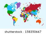 world map  colorful countries... | Shutterstock . vector #158350667