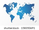 blue world map isolated shape. | Shutterstock . vector #158350691