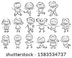 set of doodle figure children.... | Shutterstock .eps vector #1583534737