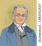 carl ritter cartoon portrait... | Shutterstock .eps vector #1583542537