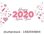 happy new year 2020 and lots of ...   Shutterstock .eps vector #1583544844