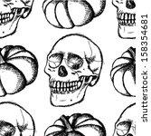 skull and pumpkin  vector... | Shutterstock .eps vector #158354681