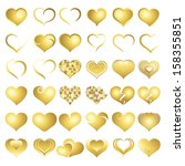 golden heart collection icon ... | Shutterstock .eps vector #158355851