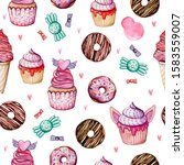 sweets  cupcakes and donuts....   Shutterstock . vector #1583559007
