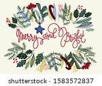 floral border frame with fir... | Shutterstock .eps vector #1583572837