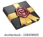 black box with sealing wax and gold ribbon isolated on a white - stock photo