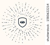 grey shield and eye icon... | Shutterstock . vector #1583622214