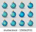 set of blue christmas balls | Shutterstock .eps vector #158362931