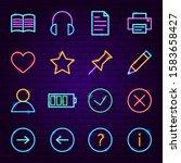 web ui neon icons. vector...